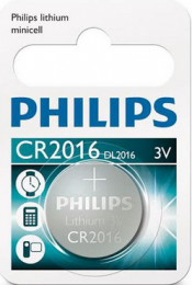 Philips Lithium Battery CR2016 3V  5004LC, DL2016, ECR2016, SB-T51, GPCR2016 L1