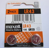 Maxell Alkaline Battery LR 43 1.5V  LR43, AG12, 186, D186A, RW84, V12GA, L1142, GP186, G12A, GP86A, 1167A, D186A, 186-1