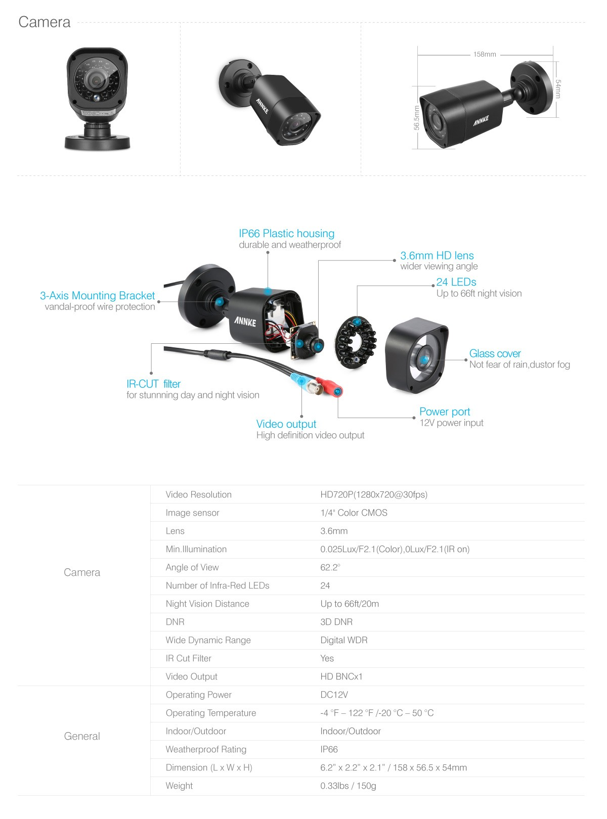 Specifications on the Bullet cameras